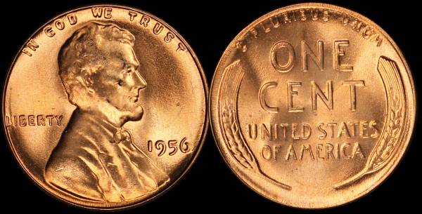 1956 P Lincoln Cent BU RED Uncirculated 4