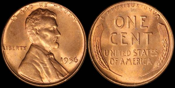 1956 P Lincoln Cent Uncirculated RED Coin 1