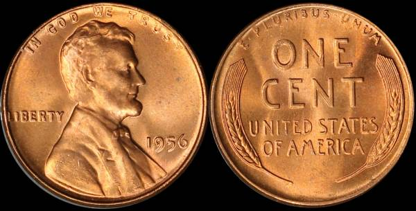 1956 P Lincoln Cent Uncirculated RED Coin 4
