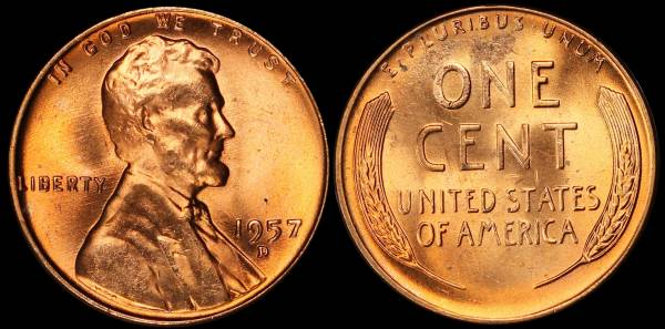 1957 D Lincoln Cent BU RED Uncirculated 5