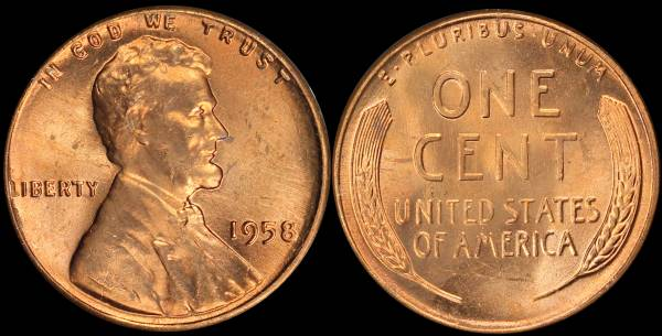 1958 P Lincoln Cent RED BU Uncirculated Coin 1