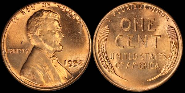 1958 P Lincoln Cent RED BU Uncirculated Coin 2