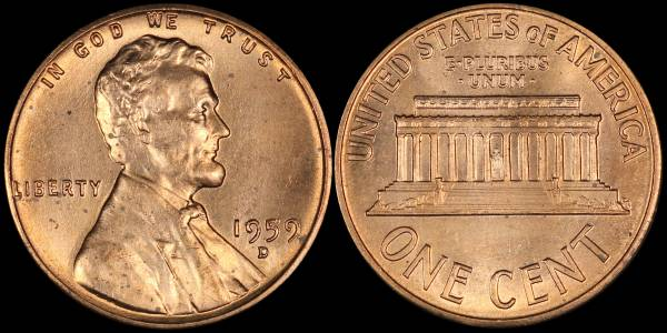 1959 D Lincoln Cent RED Uncirculated Coin 08