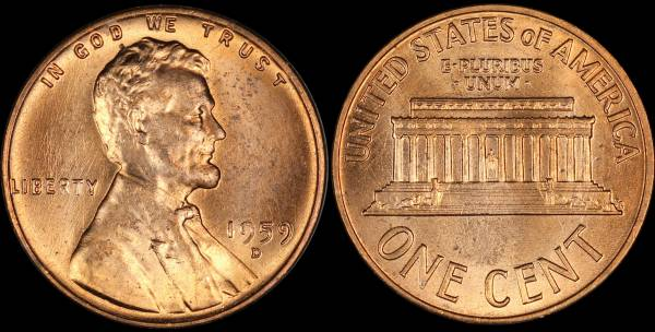 1959 D Lincoln Cent RED Uncirculated Coin 2