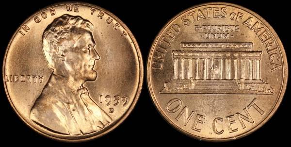 1959 D Lincoln Memorial Cent RED Uncirculated Coin 4 Lightly Damaged