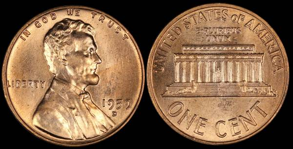 1959 D Lincoln Memorial Cent RED Uncirculated Coin 6 Lightly Damaged