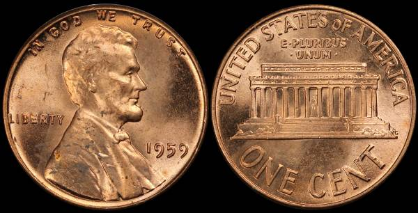 1959 P Lincoln Memorial Cent Uncirculated UNC RED Coin 5