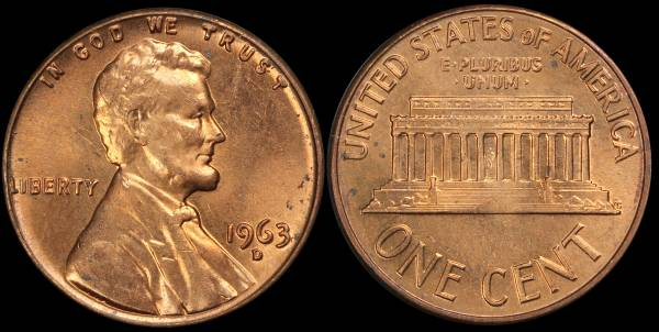 1963 D Lincoln Memorial Cent Uncirculated RED Coin 2