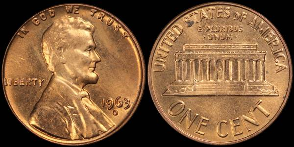 1963 D Lincoln Memorial Cent Uncirculated RED Coin 4
