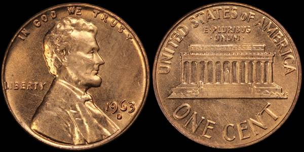 1963 D Lincoln Memorial Cent Uncirculated RED Coin 5
