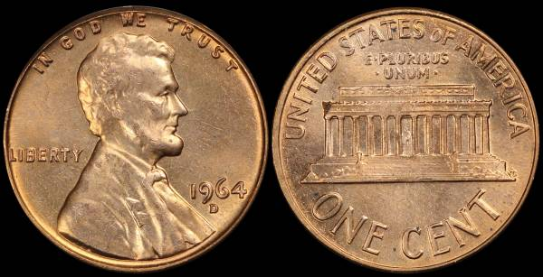 1964 D Lincoln Memorial Cent Uncirculated RED Coin 1