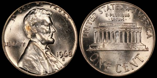 1968 S Lincoln Memorial Cent Uncirculated RED Coin 4