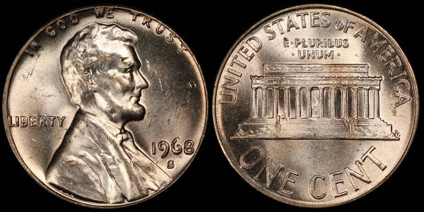 1968 S Lincoln Memorial Cent Uncirculated RED Coin 7