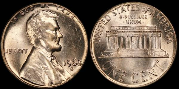 1968 S Lincoln Memorial Cent Uncirculated RED Coin 8