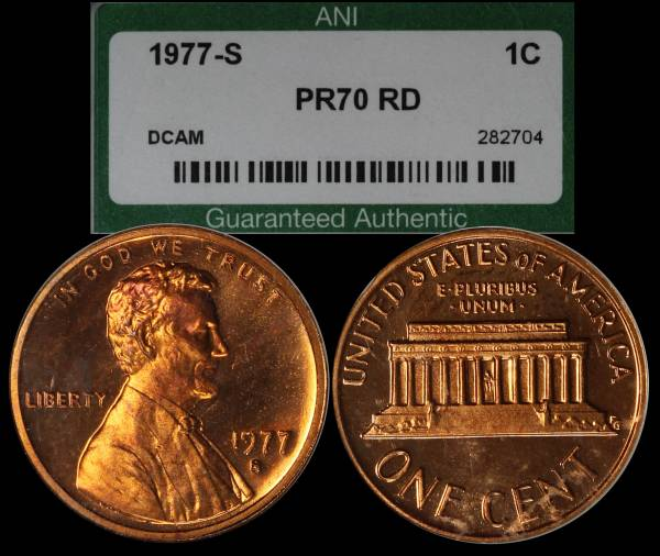 1977 S Proof Lincoln Cent PR70 RED DCAM ANI 282704