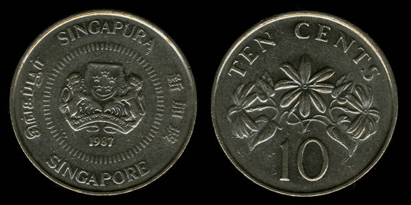 Sigapore 10 cents 1987