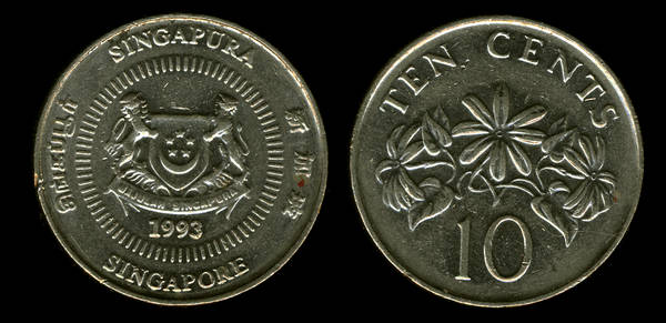 Sigapore 10 cents 1993