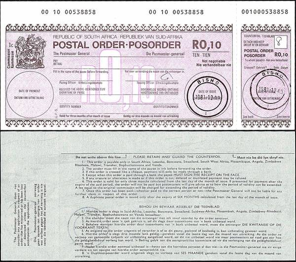 South Africa 1981 10 Cents postal order.