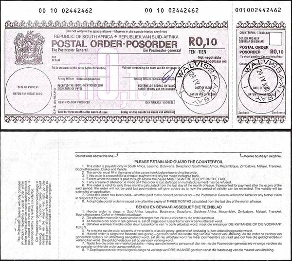 South Africa 1990 10 Cents postal order.