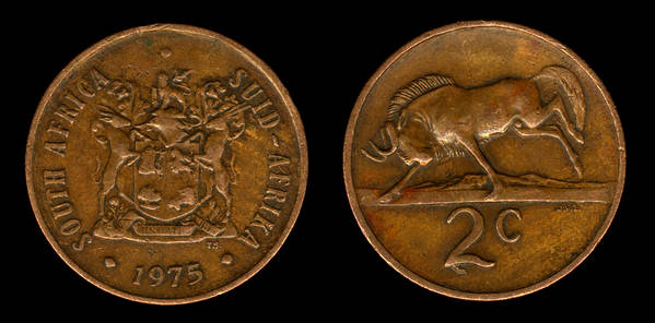 South Africa 2 cents 1975