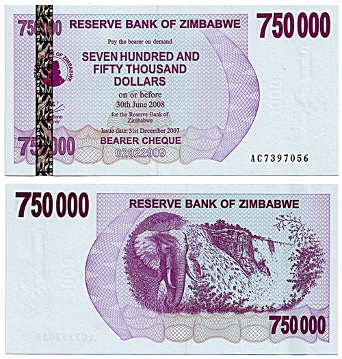 Zimbabwe 2007 750,000 Dollars Bearer Cheque.