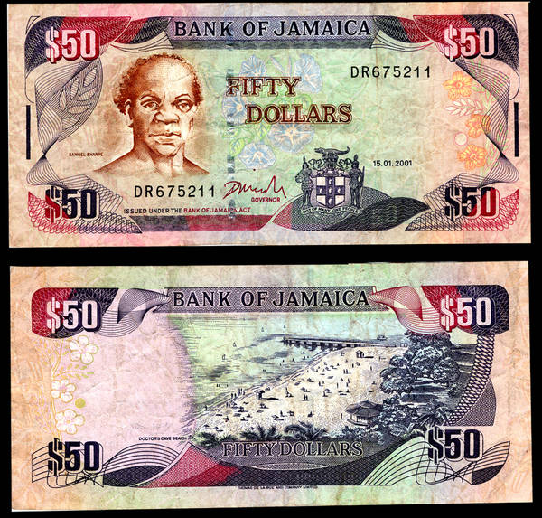 Jamaica 50 Dollars Bank Note 01-15-2001