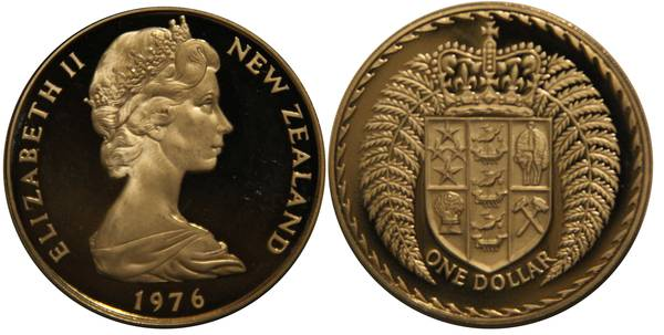 New Zealand 1 Dollar Coin 1976