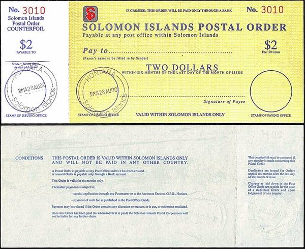 Solomon Islands 2000 2 Dollars postal order.