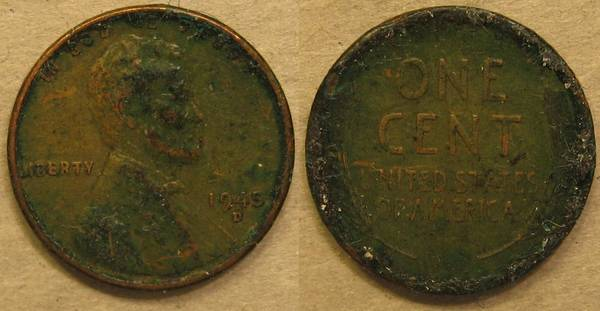 1945 D Lincoln Cent Green
