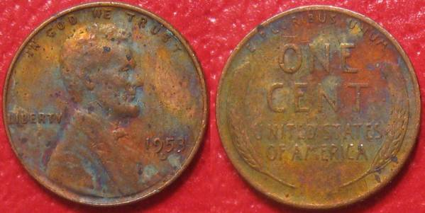1953 D Lincoln Cent with Colorful Toning