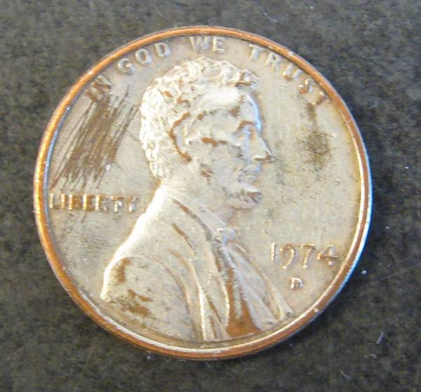 1974 D cent made to look like an aluminum cent
