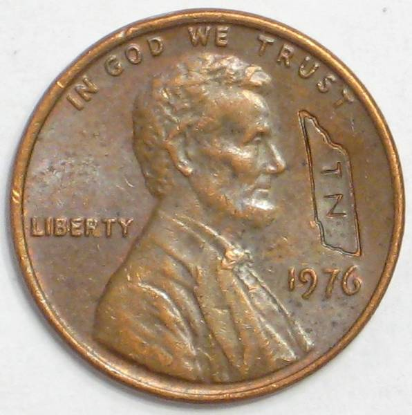 1976 P Lincoln counterstamp Tennessee
