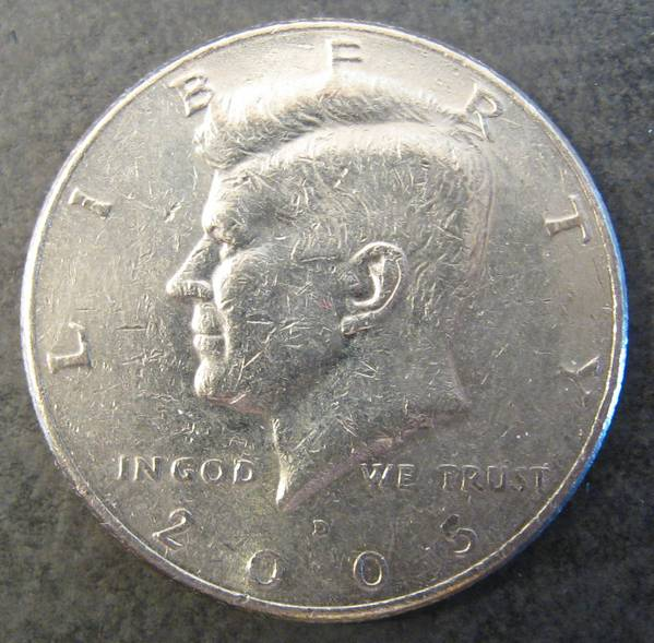 2005 D Kennedy Half Dollar Damaged by slot machine