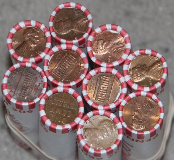 10 rolls of cents pennies with wheat showing