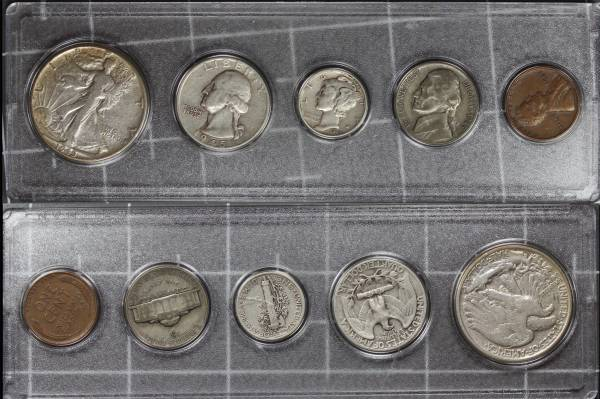 1945 US Coins Year Set Circulated
