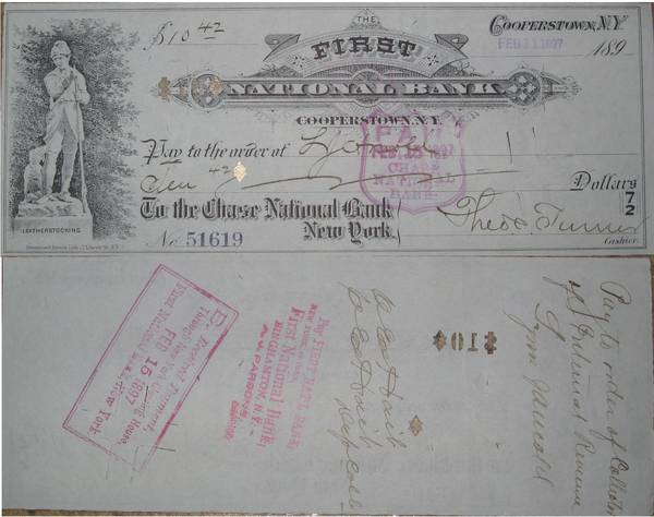 Check First National Bank Cooperstown 1897
