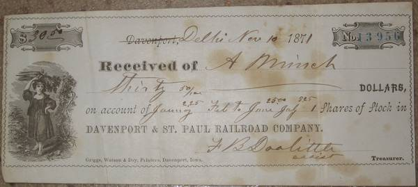 Davenport St Paul Railroad 30 receipt stock 1871