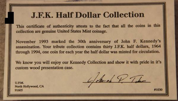 Kennedy Set 1964 1993 30th anniversary COA Certificate