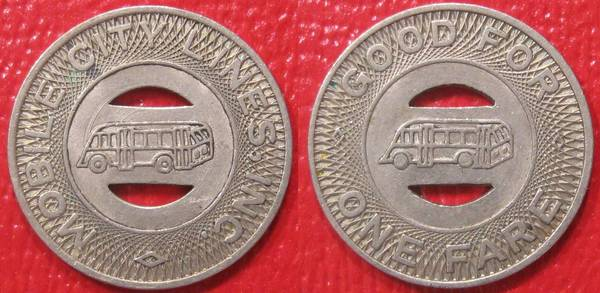 Mobile City Lines Inc Bus Token Good for one fare