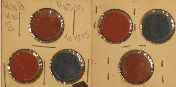 World War II Ration Tokens - Blue Red