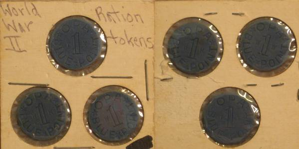 World War II Ration Tokens - Blue
