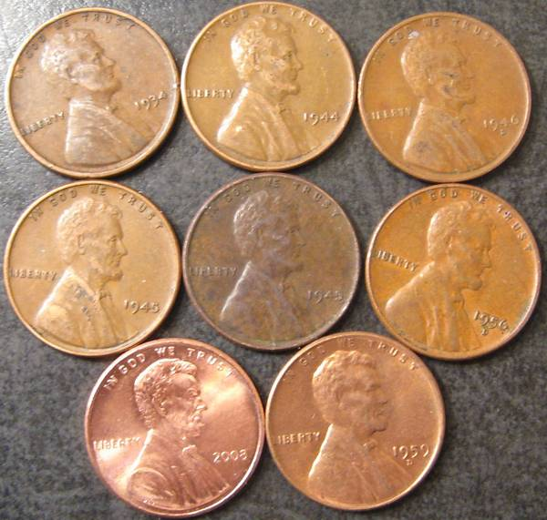 6 wheat pennies cents, 2008 P and 1959 found in bank box