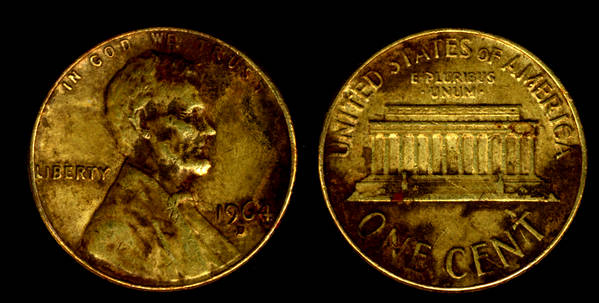 usa 1 cent 1964 brass plated