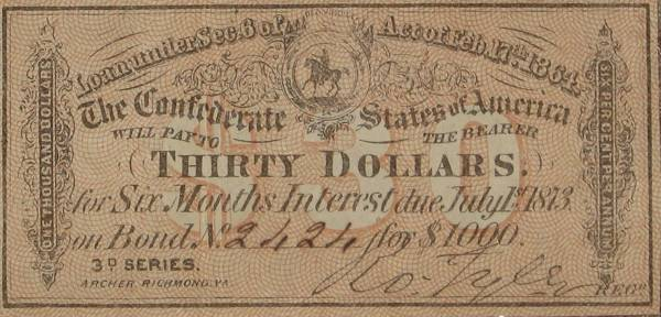 Confederate States of America 1000 Dollar Bond 30 Coupon