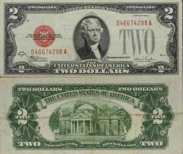 1928 F 2 Dollar United States Note D46674298A circulated