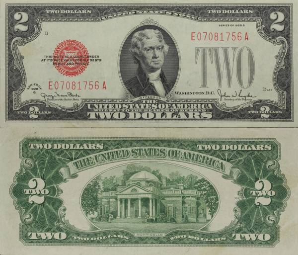1928 G 2 Dollar United States Note E07081756A almost circulated