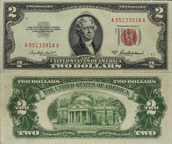1953 A 2 Dollar United States Note A55133918A almost uncirculated