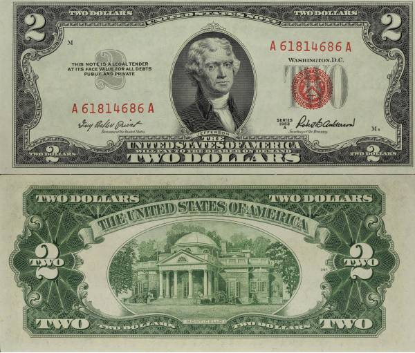 1953 A 2 Dollar United States Note A61814686A almost uncirculated