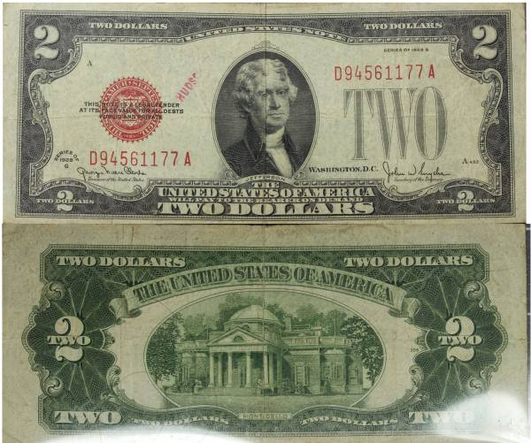 2 Two Dollar United States Note series 1928 G D94561177A Circulated