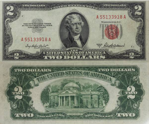 2 Two Dollar United States Note series 1953 A A55133918A AU